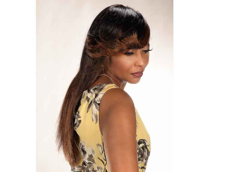 Long Hairstyle with Ombre Hair Color and a Whispy Bang