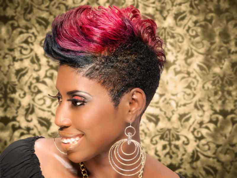 "Color ""Me"" Bad Short Mohawk Hairstyle with Highlights"