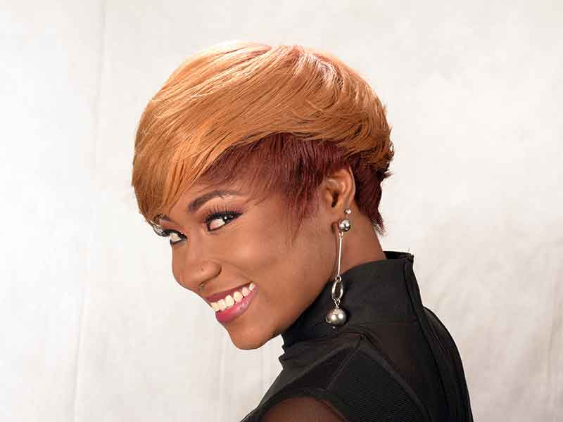 Short Hairstyle with Hair Color and Tapered Sides