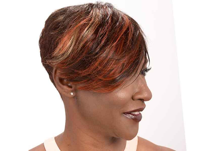 Short Razor Cut Hairstyle with a Long Bang