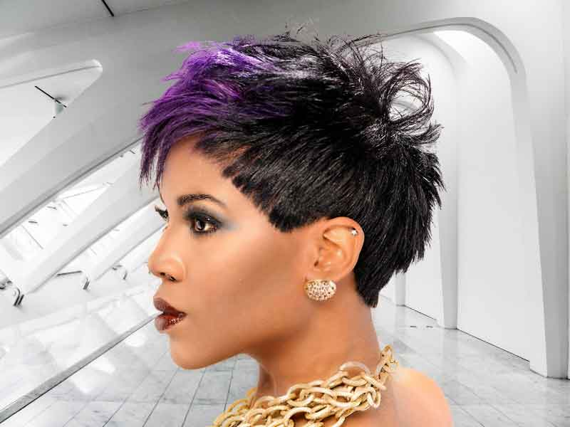 Short Vivid Violet Hairstyle for Black Women