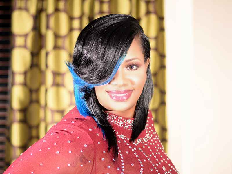 Long Hairstyle with Blue Highlights