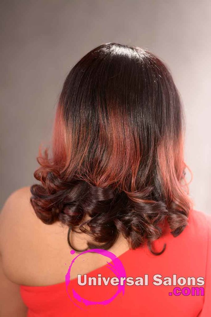Back View: Shadow Ombre and Color Melt Combination with Loose Curls