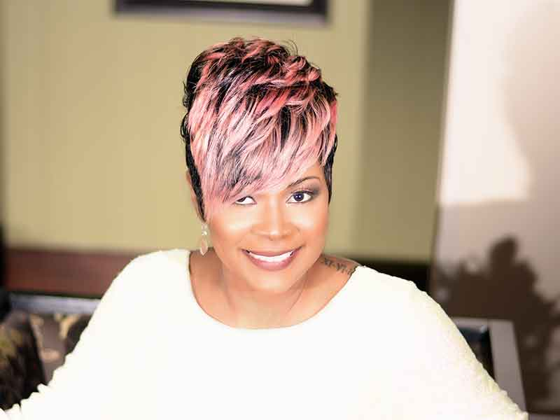 Short Hairstyle with Pink Highlights