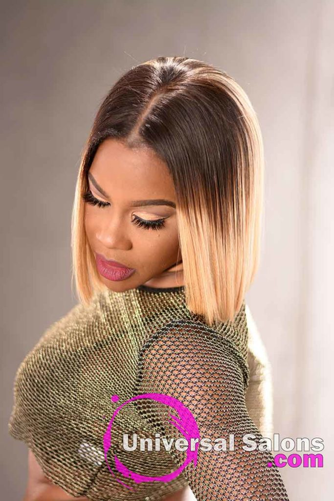 Front Down View: Blunt Cut Bob Hairstyle with Movement