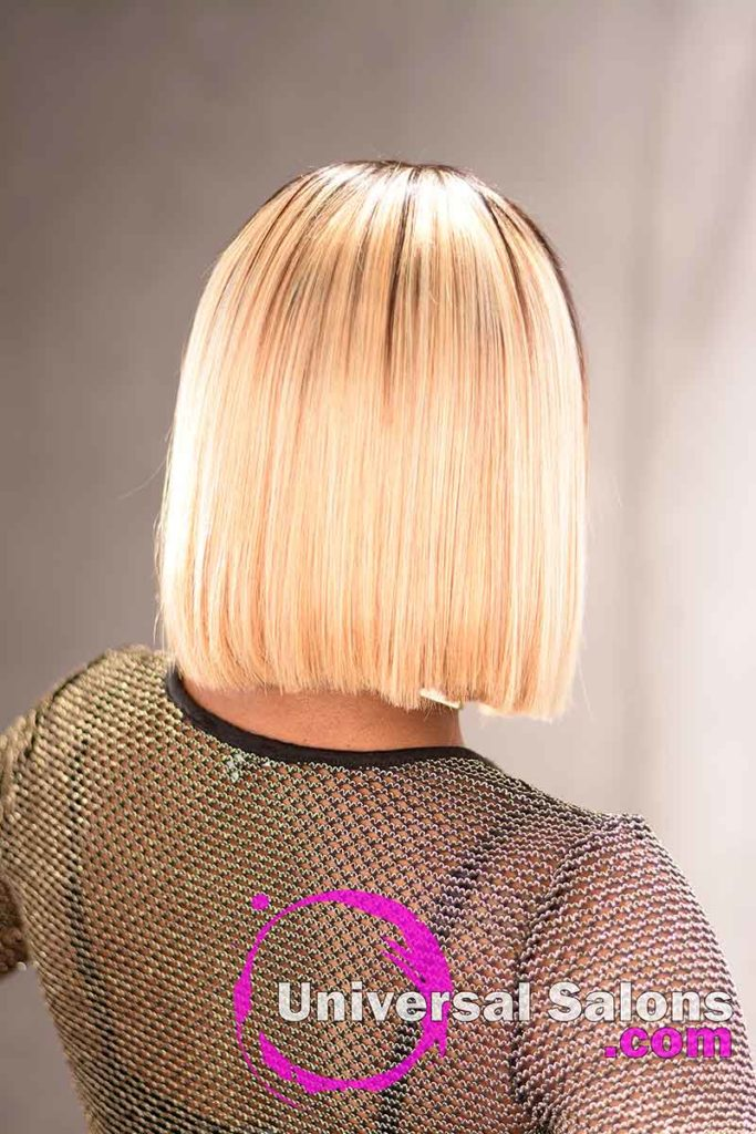 Back View: Blunt Cut Bob Hairstyle with Movement
