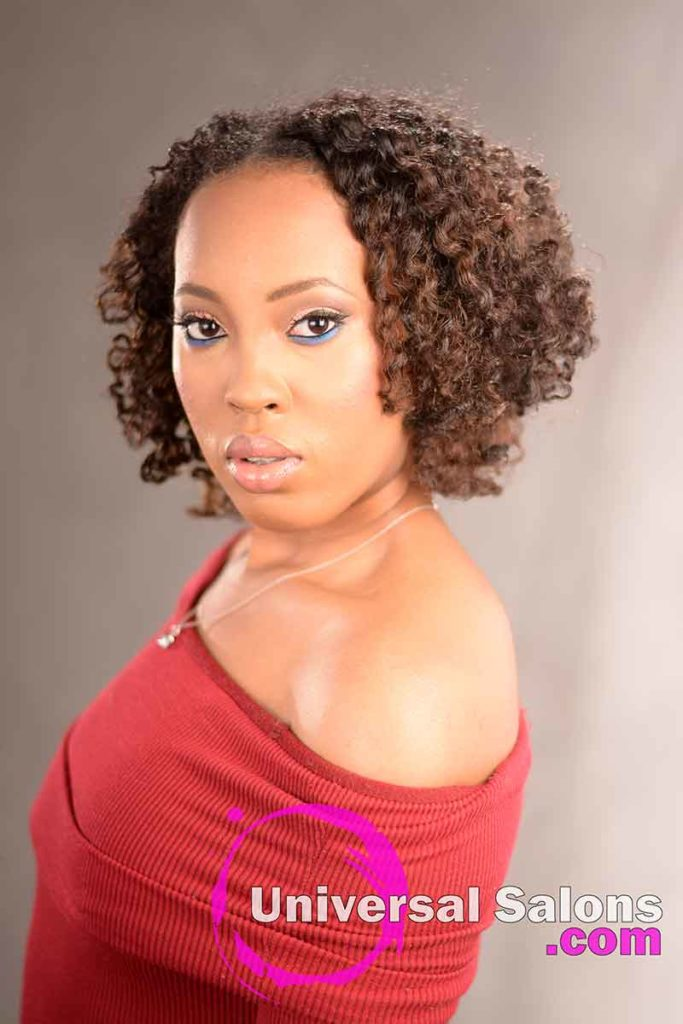 Double Flat Twist Curly Natural Hair with Highlights -4