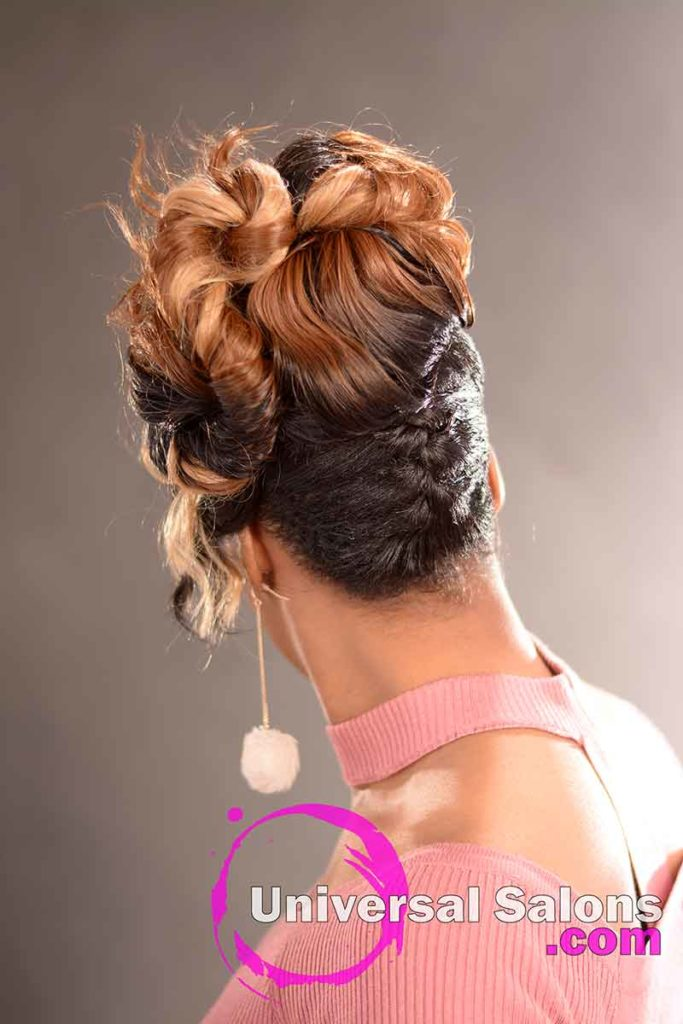 Back View: Elegant Updo Hairstyle with a Double Braid