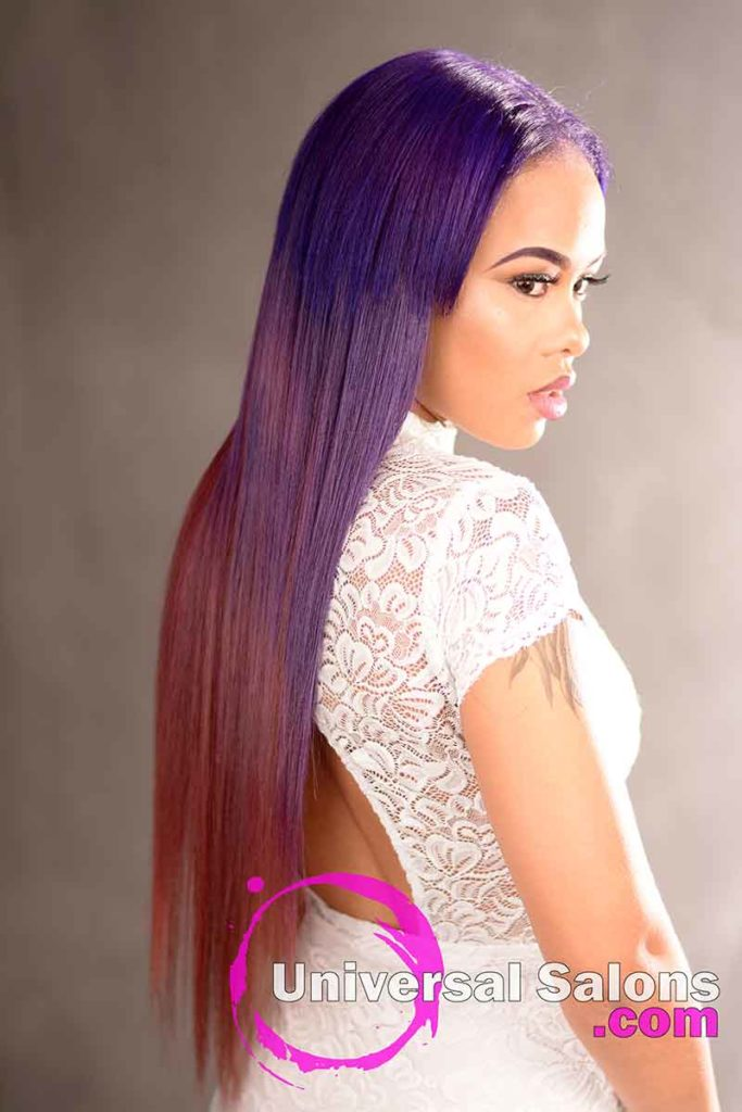 Back Right Side: Long Color Melt Hair Technique