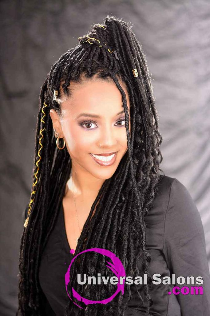 Front View: Long Ponytail Hairstyle Using Interlocking Locs Method