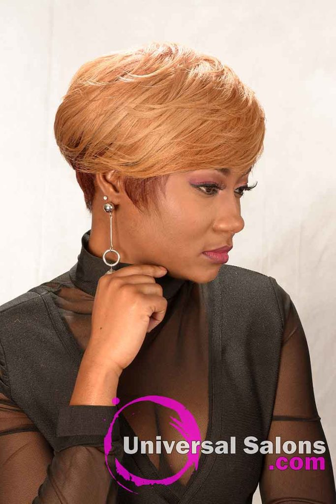 Right View: Short Hairstyle for Black Women with Layers and a Feathered Bang
