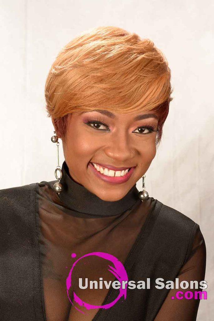 Front: Short Hairstyle for Black Women with Layers and a Feathered Bang