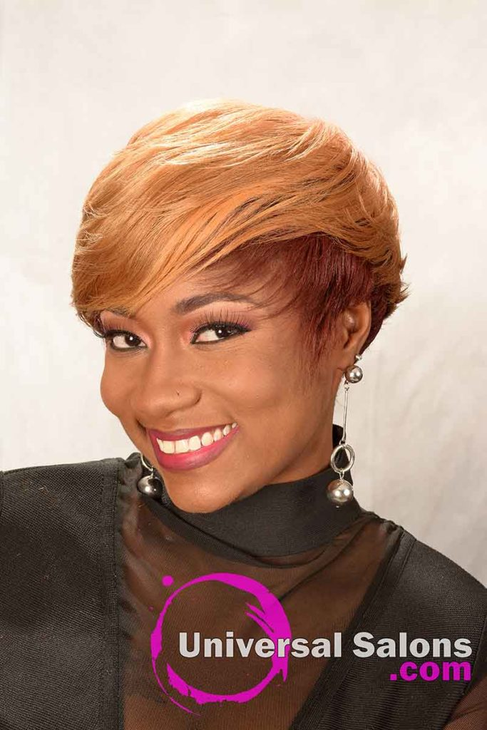 Front Right View: Short Hairstyle for Black Women with Layers and a Feathered Bang