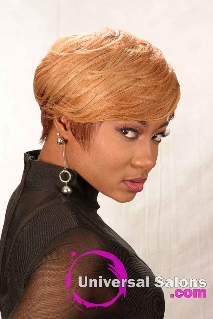 Left View: Short Hairstyle for Black Women with Layers and a Feathered Bang