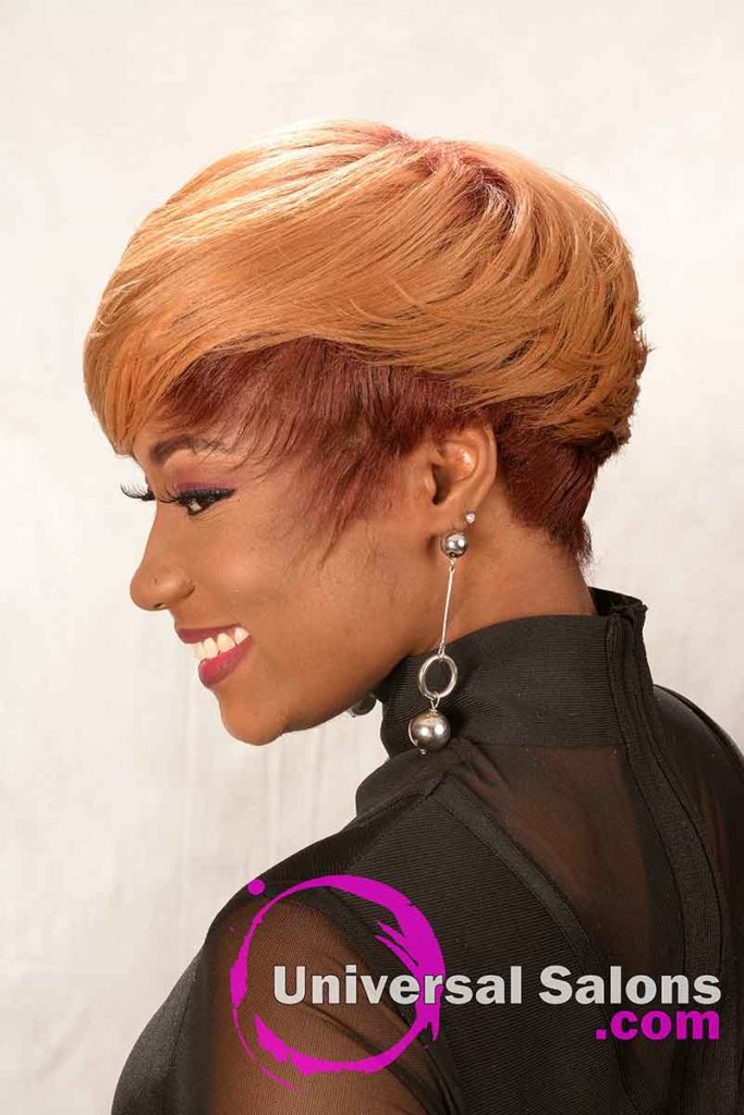 2nd Right View: Short Hairstyle for Black Women with Layers and a Feathered Bang