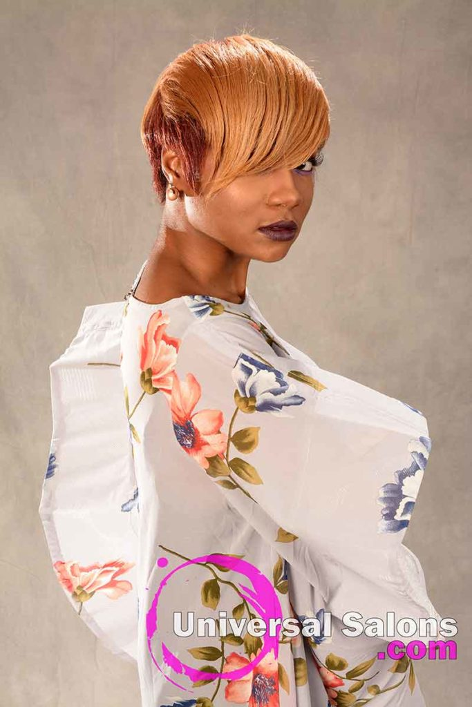 3/4 Right View: Short Hairstyle for Black Women with Layers and a Feathered Bang