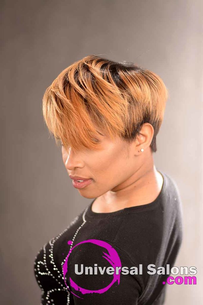 2nd Right View: Short Hairstyle with a Custom Haircut and Ombre Color