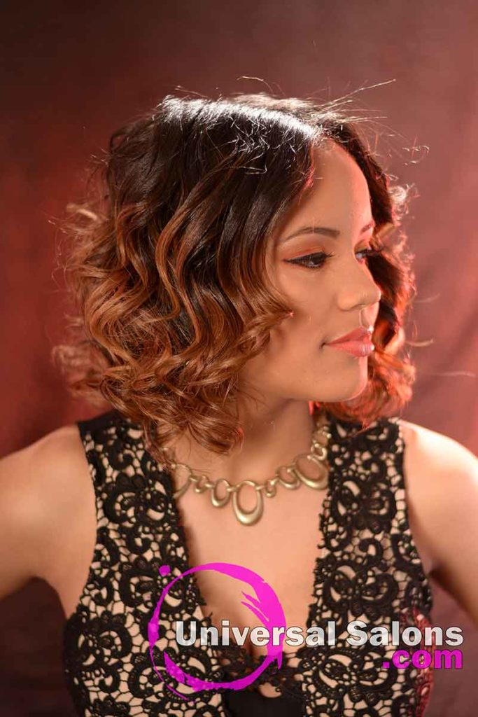 Left View: Medium Length Curly Bob Hairstyle with Highlights
