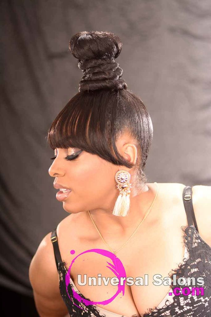 Left View: Beautiful Coiled Bun Updo Hairstyle with a Chinese Bang