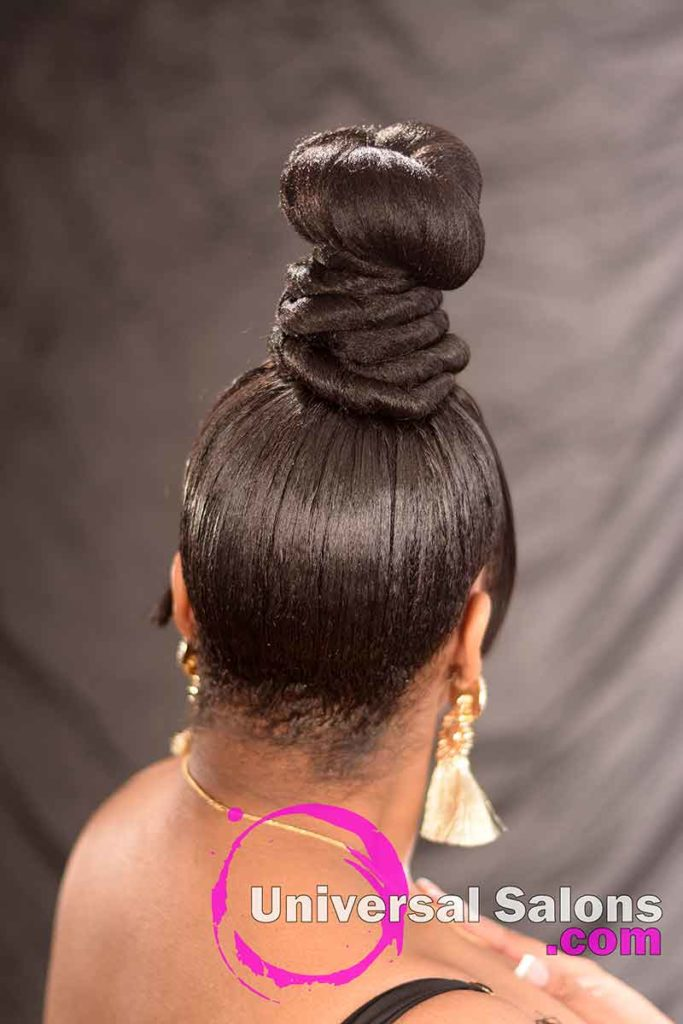 Coiled Bun Updo Hairstyle With A Chinese Bang From Tish