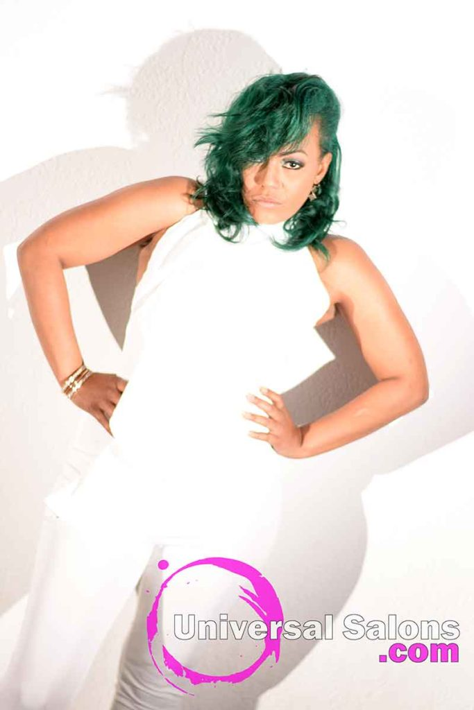 Full Body View: Emerald Green Hair Color on Natural Hair