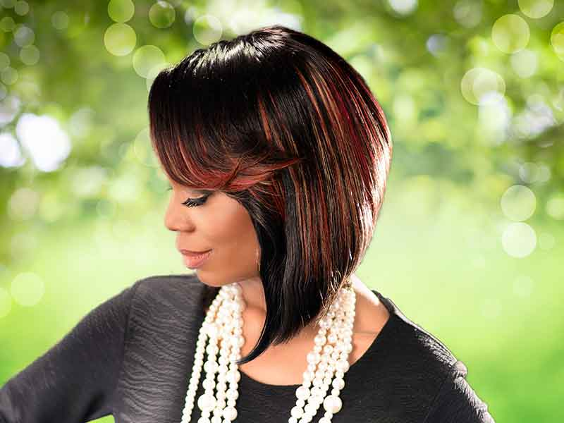 High Cut Bob Haircut with Bangs and Hair Color from Joyce Carter