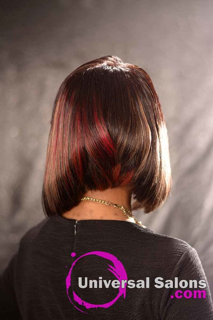 Back View: High Cut Bob Haircut with Bangs