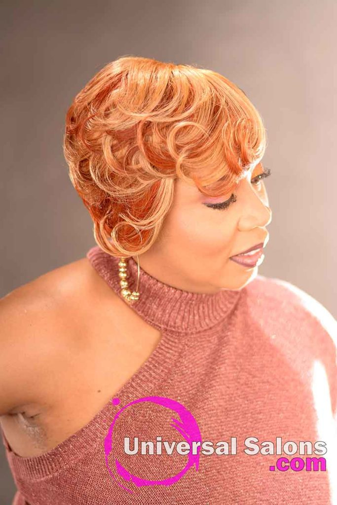 Left Side View: Stunning Short Blonde Hairstyle for Black Women