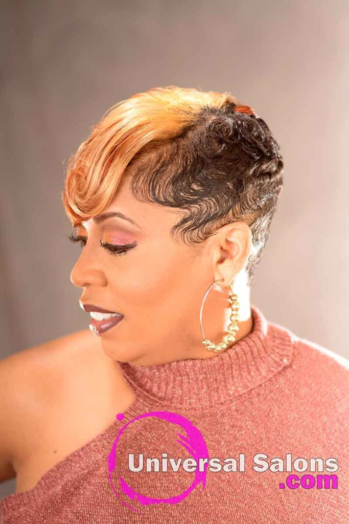 Right Side View: Stunning Short Blonde Hairstyle for Black Women