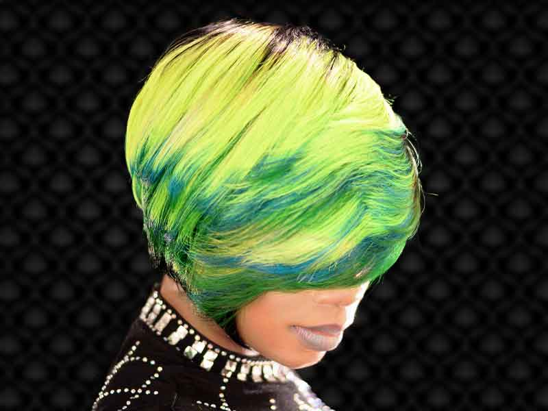 Bold Lime Quick Weave Hairstyle from Constance Purnell in Columbia, SC