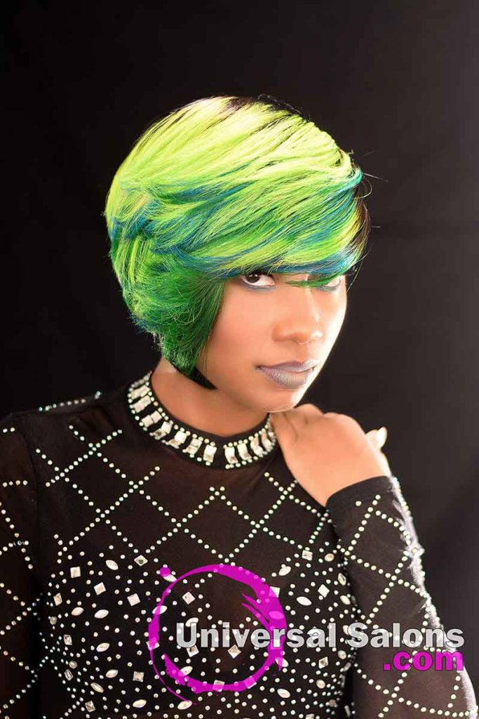Right View: Bold Lime Quick Weave Hairstyle from Constance Purnell in Columbia, SC