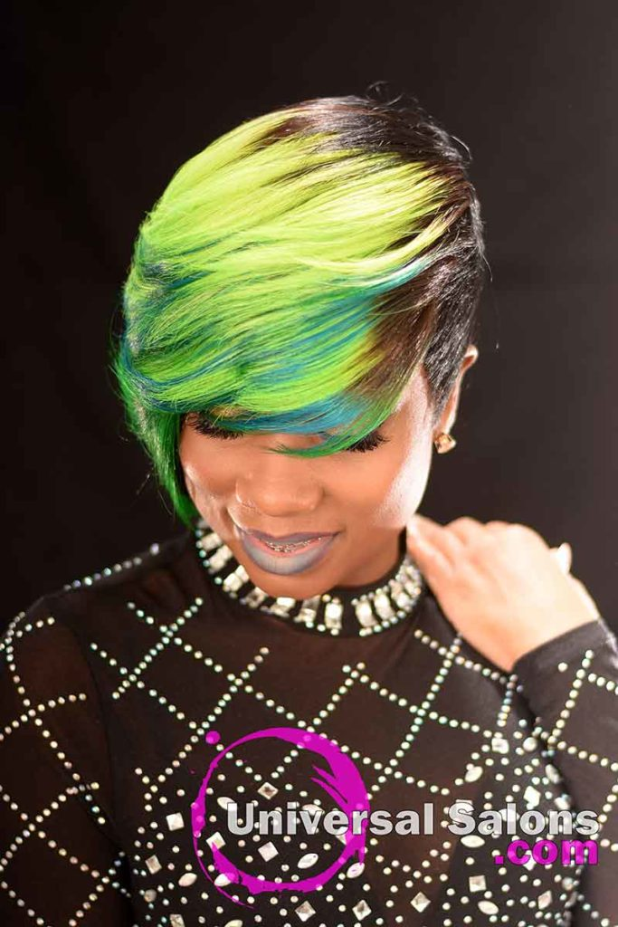 Front Down View: Bold Lime Quick Weave Hairstyle from Constance Purnell in Columbia, SC