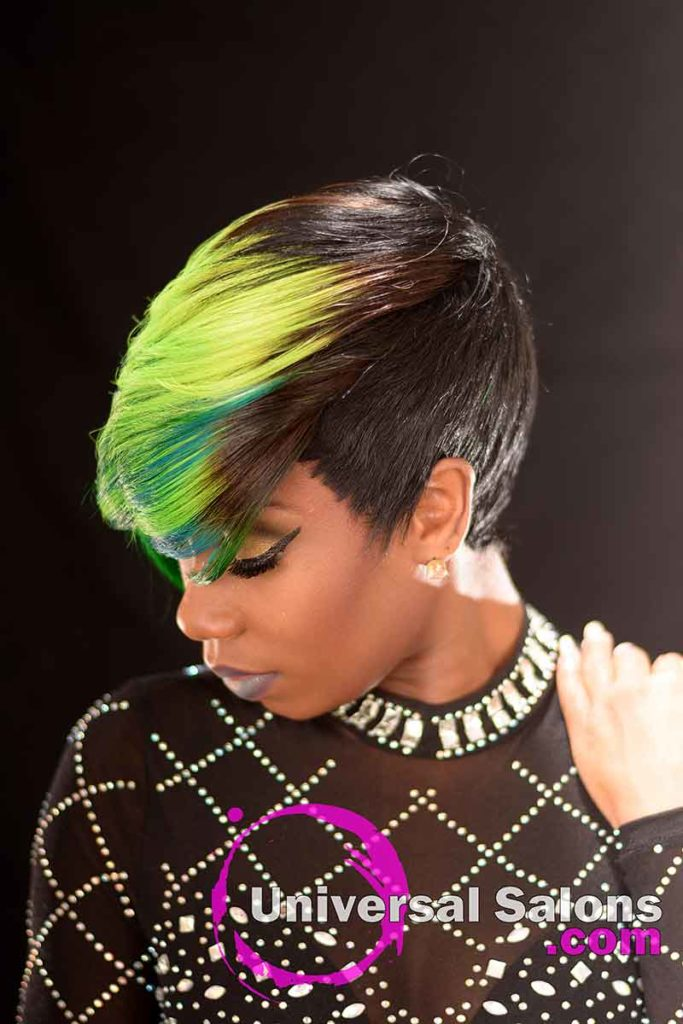 Left View: Bold Lime Quick Weave Hairstyle from Constance Purnell in Columbia, SC