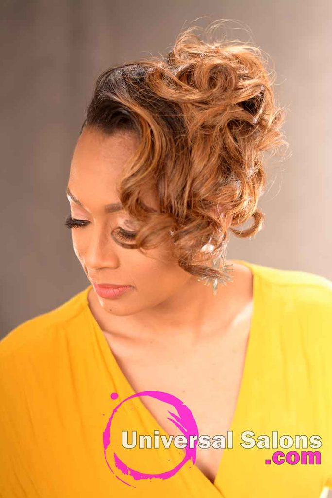 Left View: Chic Pin Curl Updo from Kevin Quattlebaum in Columbia, SC