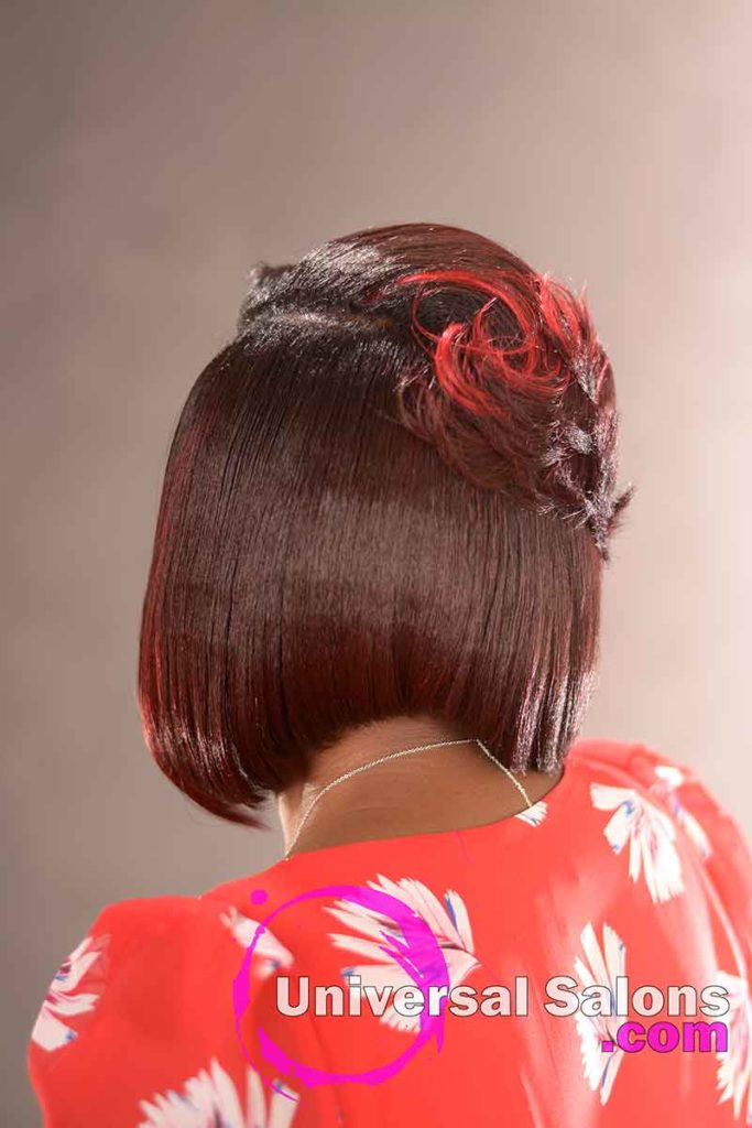 Back View: Elegant Bob Hairstyle for Black Women by Deedra Mcleod in Hartsville, SC