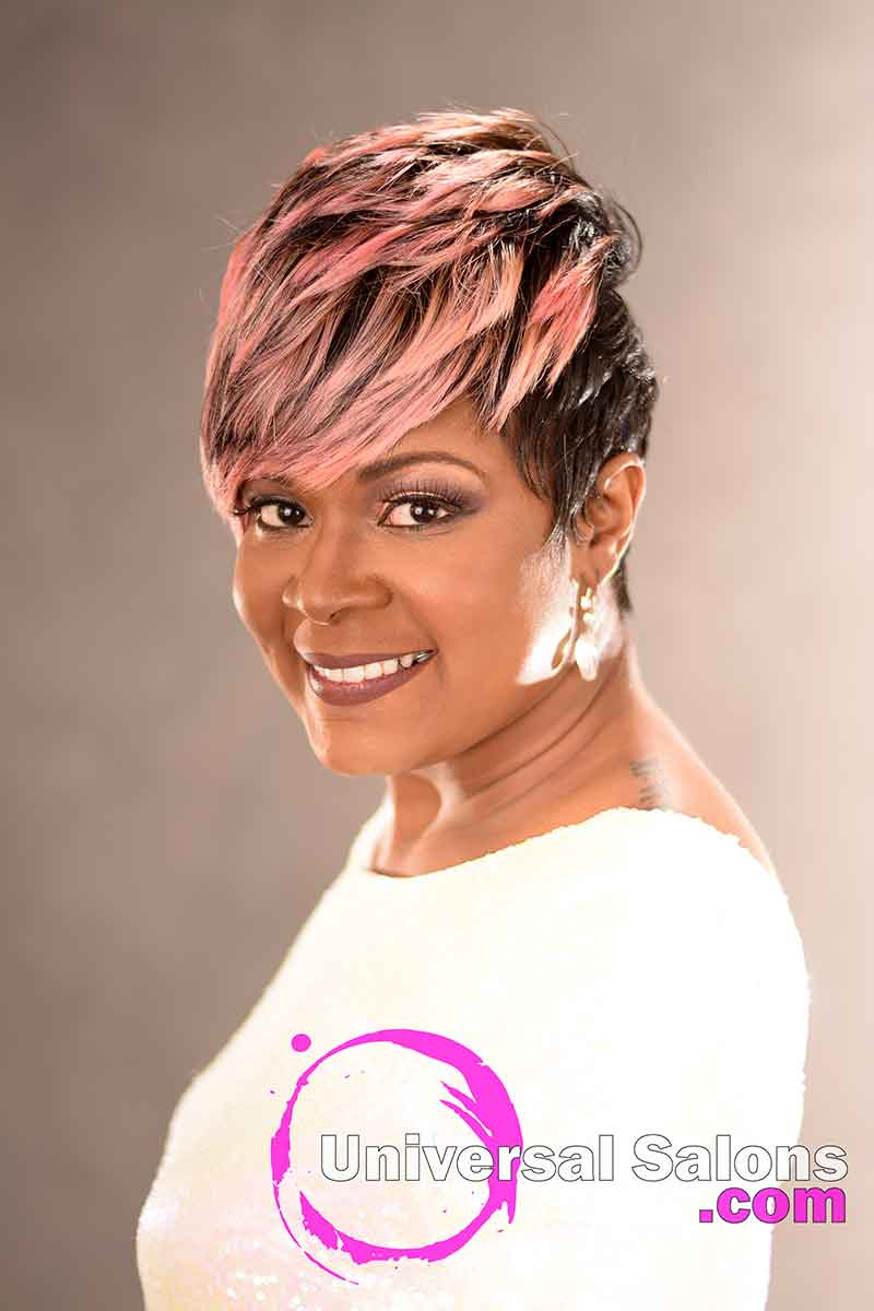 Front Right View: Fierce Pixie Hairstyle for Black Women from Yvette Alston in Columbia, SC