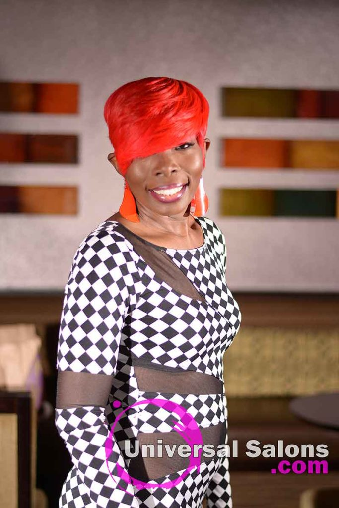 3/4 Front View: Fire Red Quick Weave Hairstyle from Yvette Alston in Columbia, SC