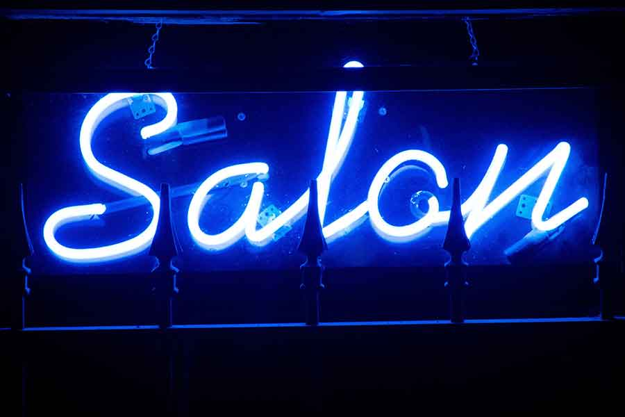 Neon Blue Hair Salon Sign