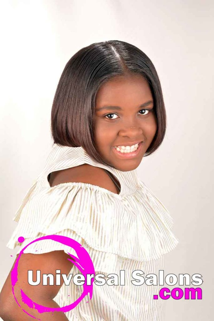 Little Girl Wearing Silk Press Natural Hairstyle