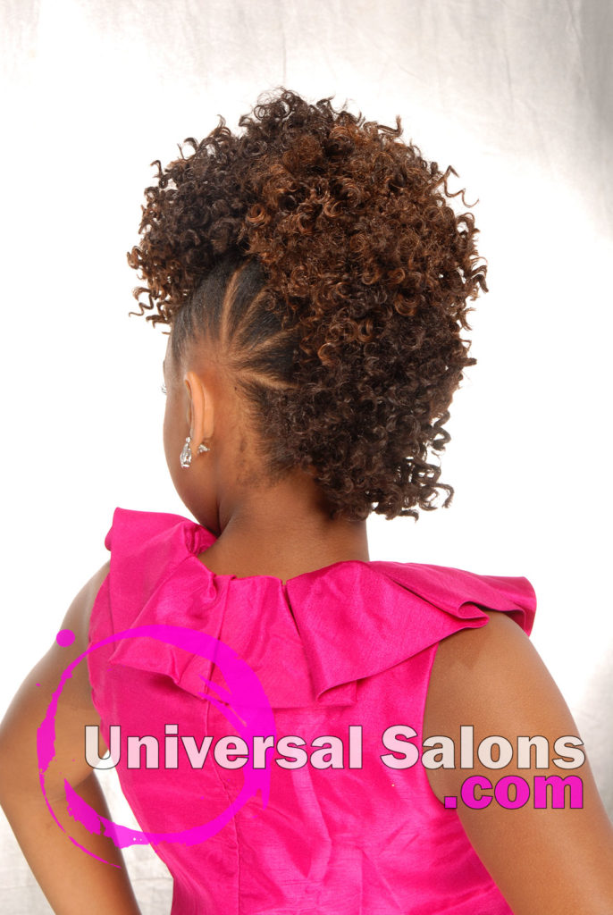 Back View: Curly Mohawk Updo Black Hairstyles for Little Kids