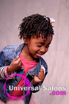 Model Looking Down with Tight Curls Black Hairstyle for Little Girls