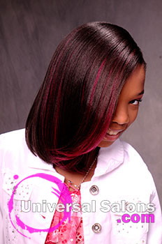 Little Girl Looking Down Silk Press Hairstyle with Red Highlights