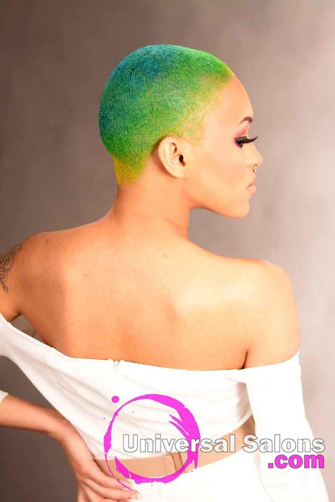 Rainbow Hair Color Over a Brush Cut Hairstyle