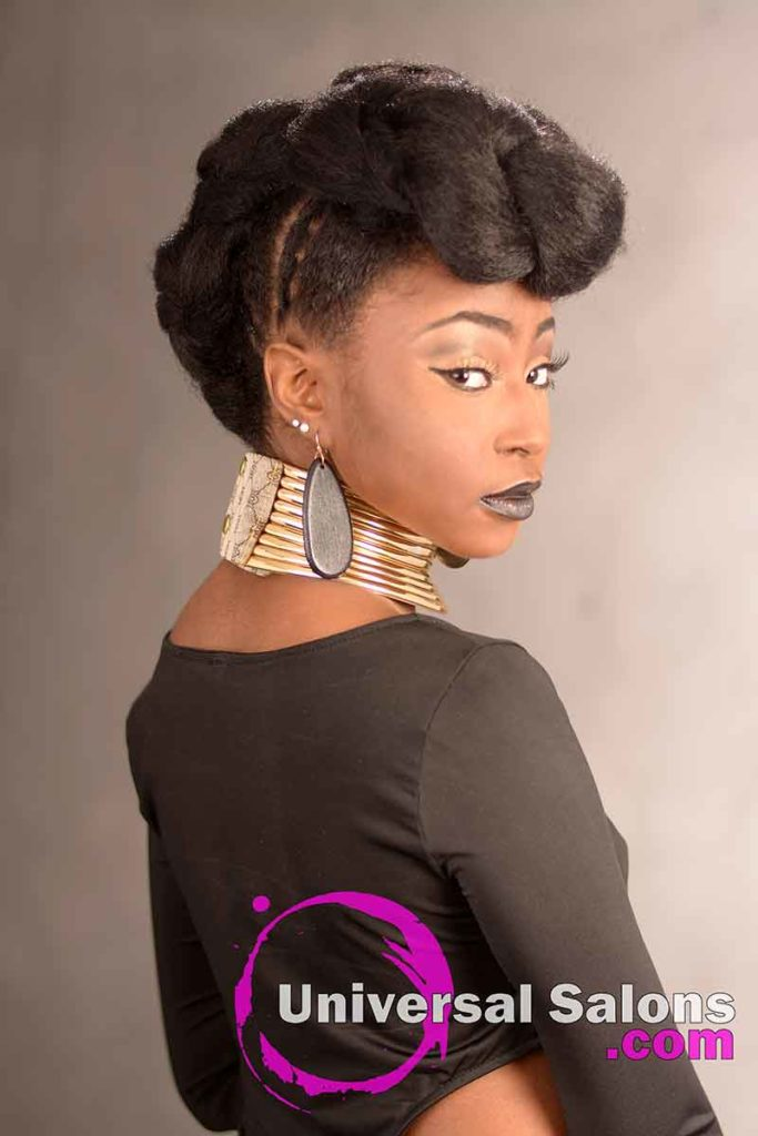 Left View of a Tripple Ponytail Updo Hairstyle