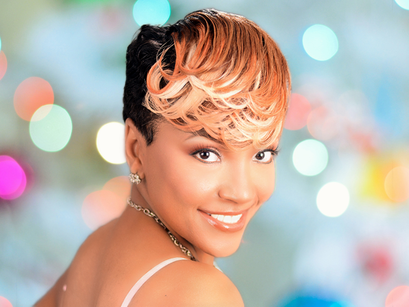 Check Out This Bold Short Pin Curl Hairstyle With a Custom Hair Color