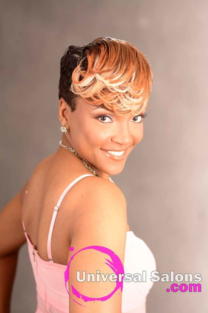 Front View of a Bold Short Pin curl Hairstyle
