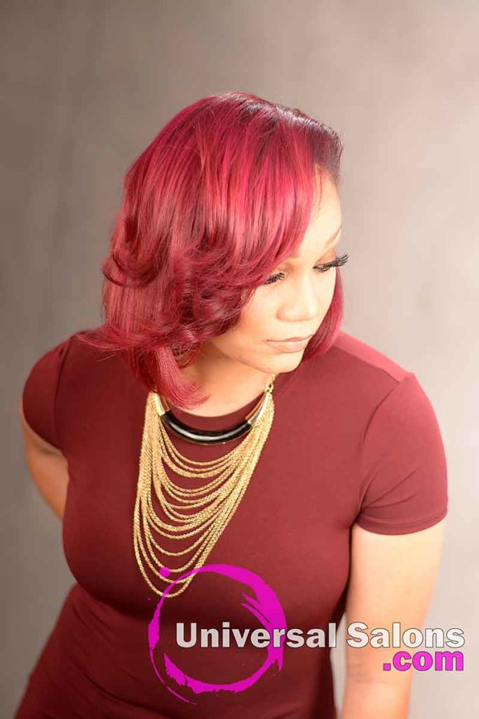 Right View of an Asymmetrical Bob Hairstyle With Color
