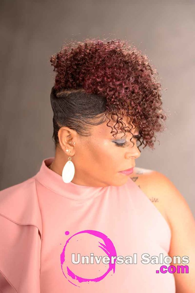 Right View of a Curly Updo Hairstyle for Black Women