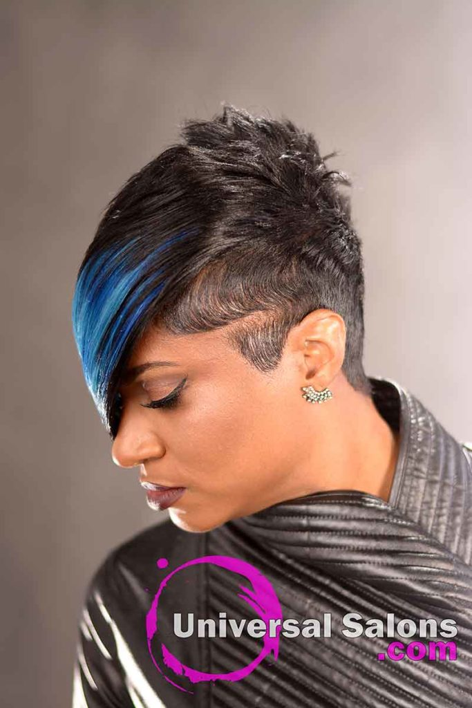 Right View of Black Hairstyle With a Swoop Bang
