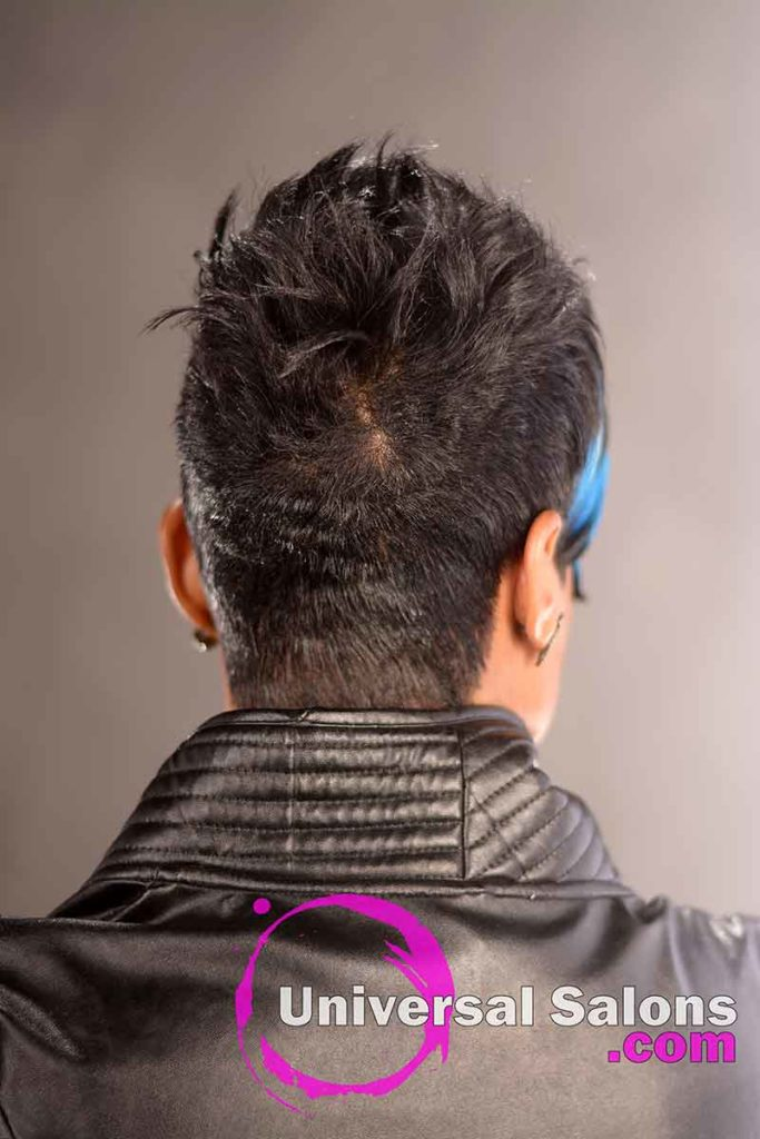 Back View: Short Black Hairstyle With a Swoop Bang